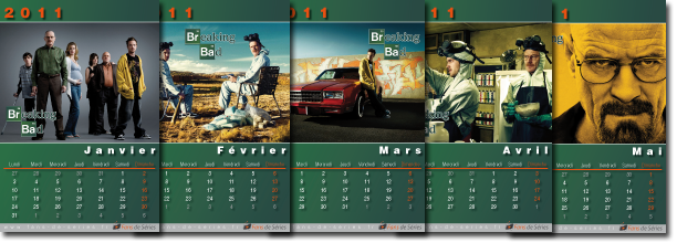 Exemple de pages du calendrier Breaking Bad 2011