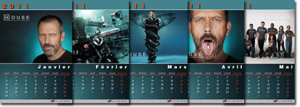 Exemple de pages du calendrier Dr House 2011