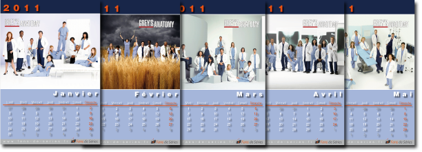 Exemple de pages du calendrier Grey's Anatomy 2011
